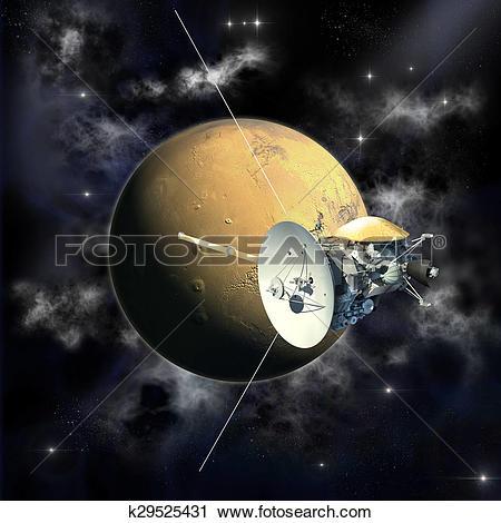 Clipart of Cassini mission orbiter k29525431.
