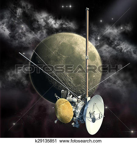 Clipart of Cassini mission passing the Moon k29135851.
