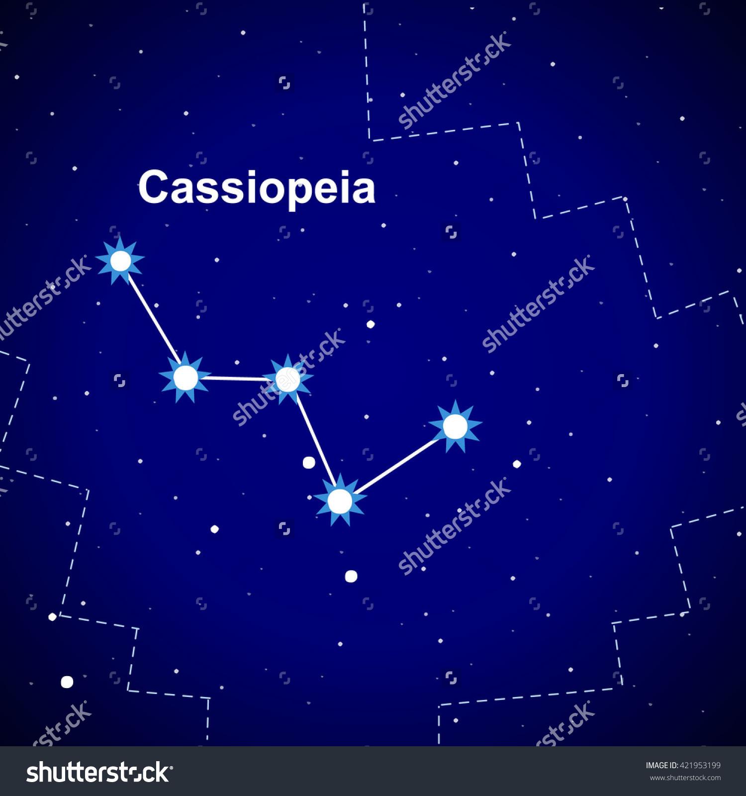 Cassiopeia Constellations Northern Hemisphere Milky Way Stock.