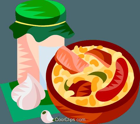 EU European cuisine cassoulet Royalty Free Vector Clip Art.