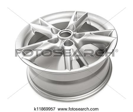 Picture of aluminum alloy wheel isolated on white k11869957.