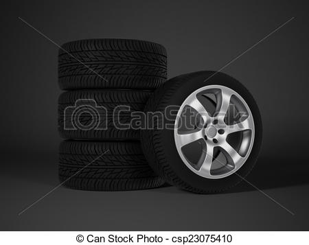 Clipart of car tire with aluminum alloy wheel csp23075410.