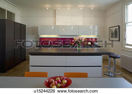 Pictures of Downlighting in modern kitchen with island unit with.
