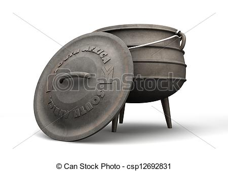Drawings of South African Potjie Pot Front.