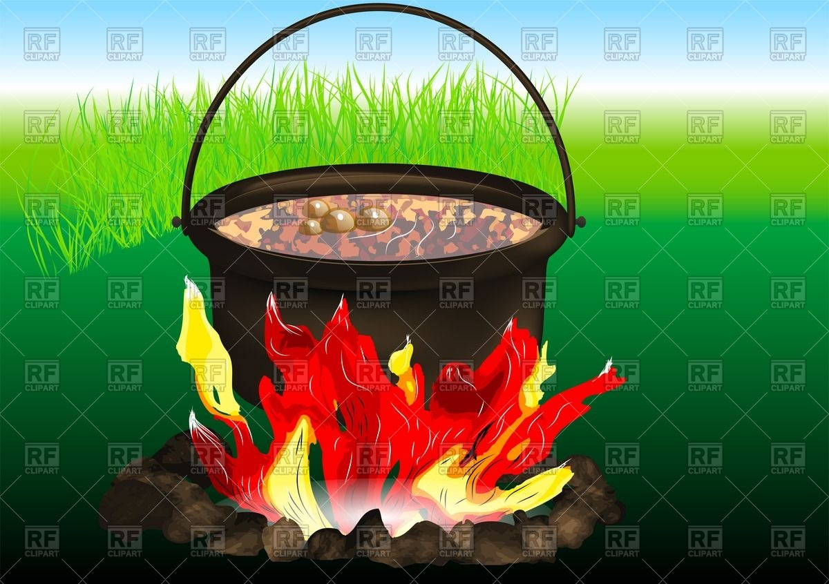 Cooking in old cast iron pot on fire Vector Image #55380.