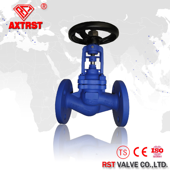 Flange ends Cast Steel Bellow Seal Globe Valve.