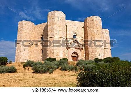 Stock Photo of The medieval octagonal castle Castel Del Monte.