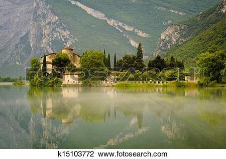 Stock Photo of Medieval Castle on Toblino Lake, Trentino, Italy.