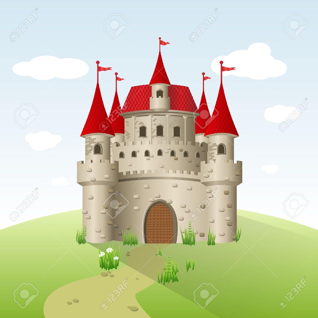 Castello Da Favola Su Un Campo Verde. Clipart Royalty.
