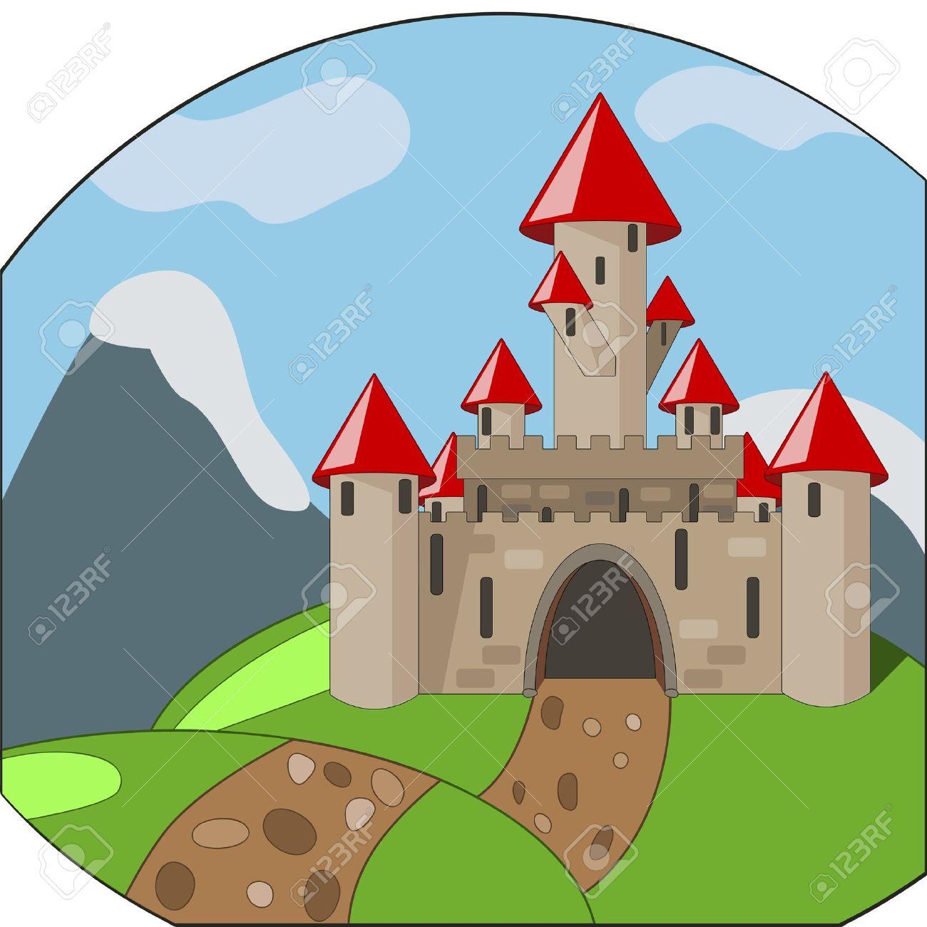 Castello Medievale Di Cartone Animato Su Sfondo Con Montagne.