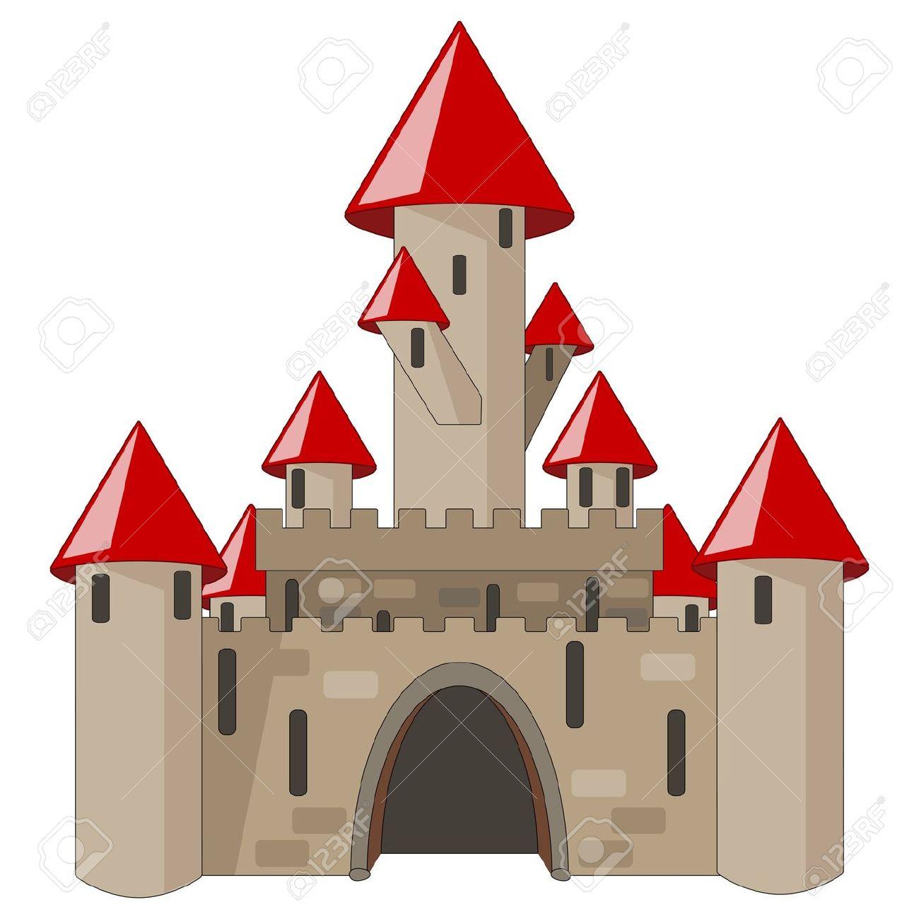 Castello Medievale Di Cartone Animato Isolata On White Clipart.