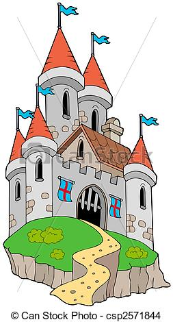 Drawing of Spectacular medieval castle on hill.