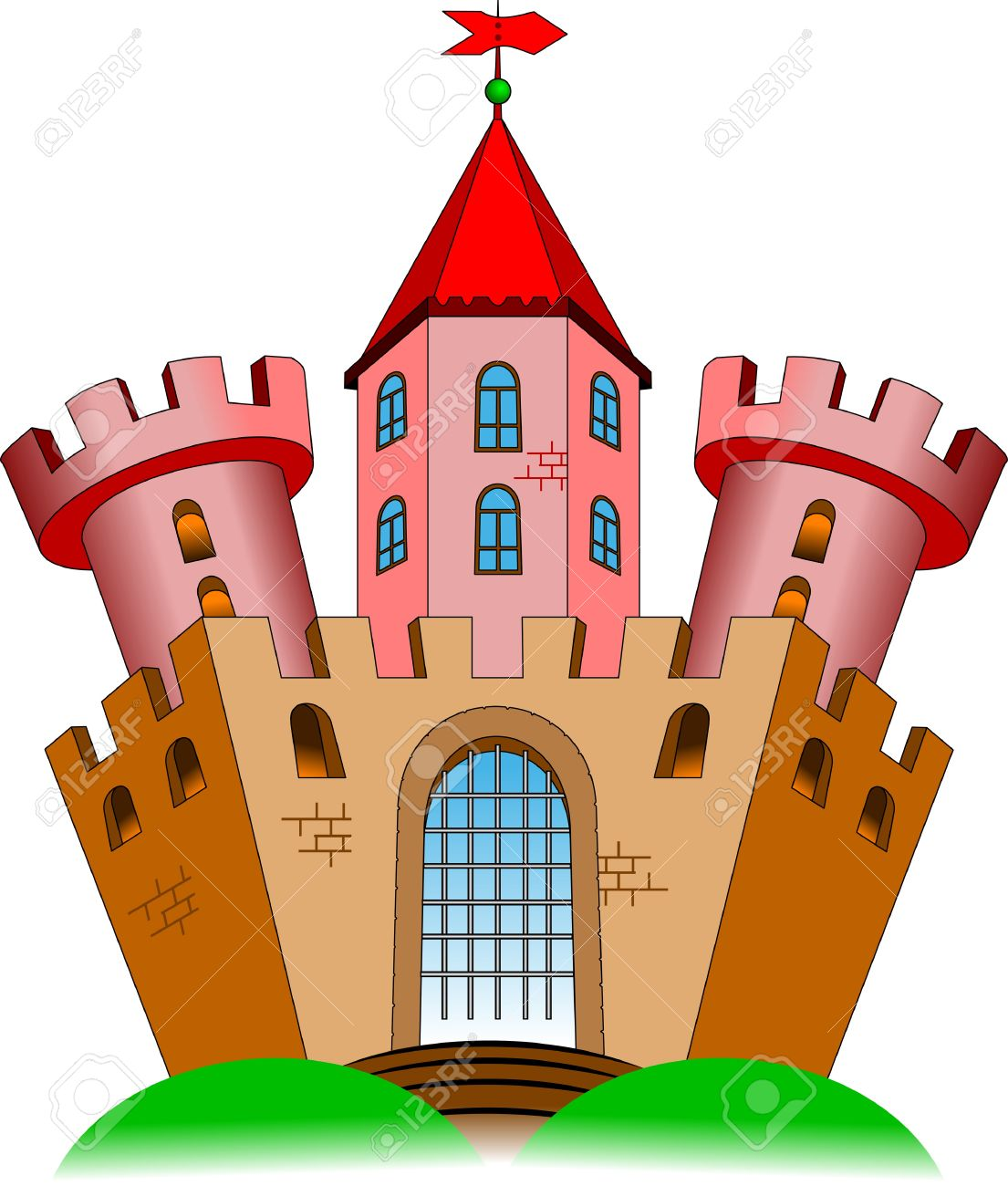 Vecchio Castello Con Due Torri. Le Illustrazioni Vettoriali.