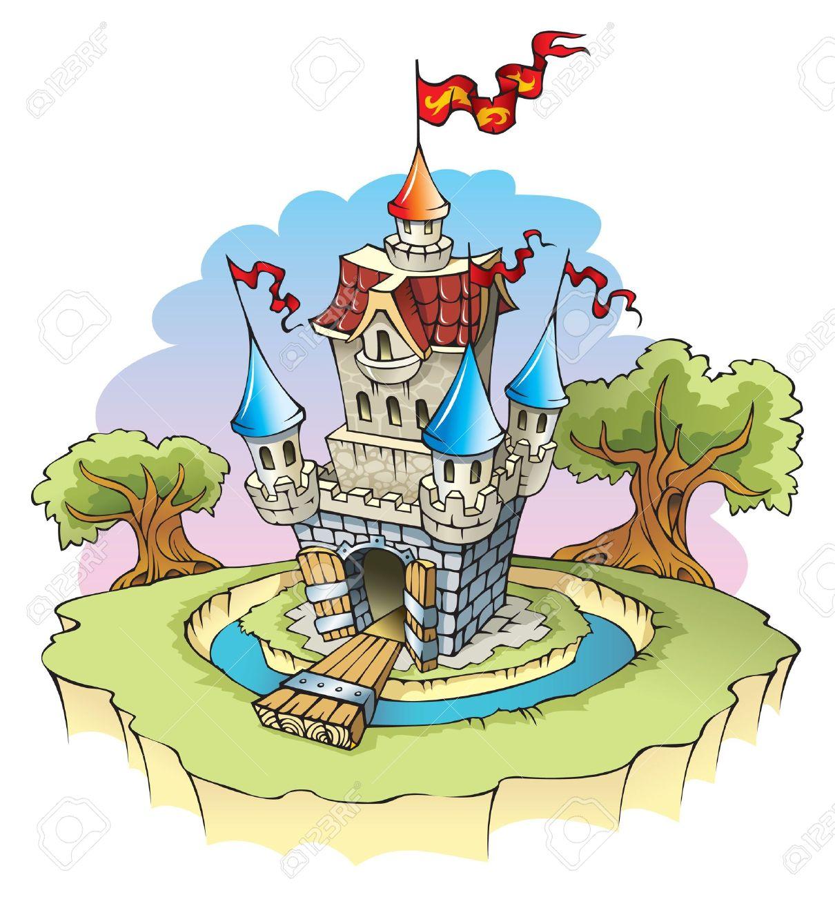 Castello Di Fumetto Fantasy, Circondato Da Un Fossato Di Acqua.