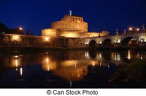 Stock Photography of Ponte Sant\'Angelo bridge and Castel Sant.