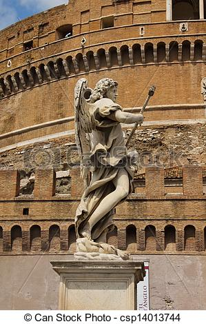 Stock Photo of Marble statue of angel with spear by Bernini on.