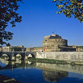 Stock Photography of Tiber river and Castel Sant' Angelo castle.