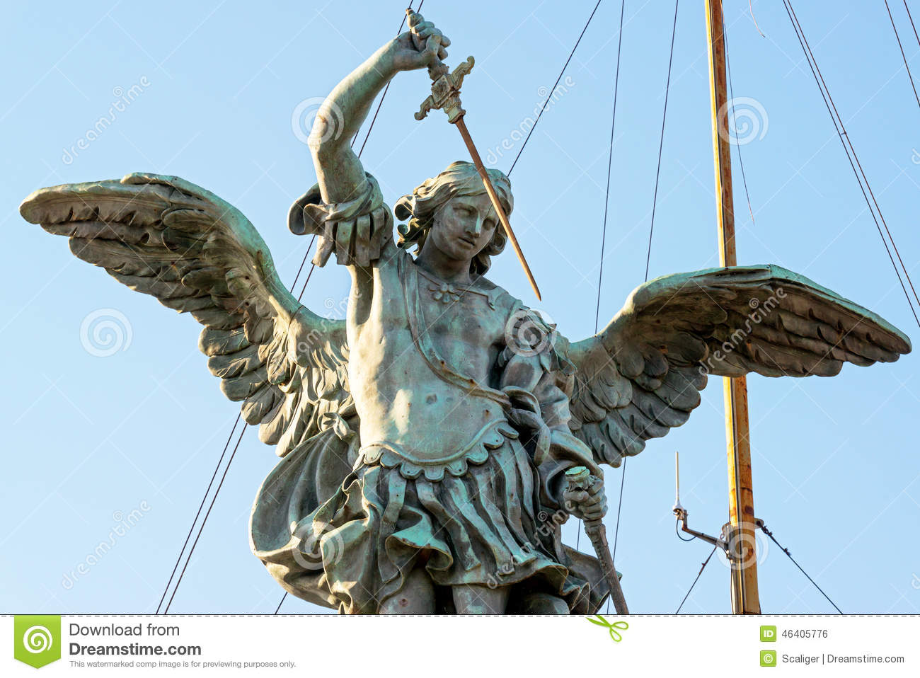 Saint Michael Statue At Top Of Castel Sant`Angelo In Rome Stock.