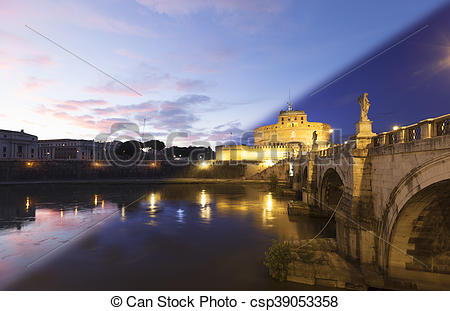 Stock Images of Rome Castel Sant Angelo twilight transition.