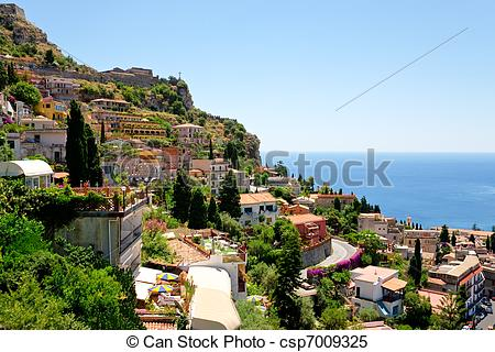 Stock Images of view on town Taormina from Castelmola, Sicily.