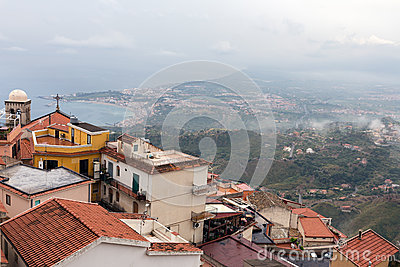 View On Town Taormina From Castelmola, Sicily Stock Image.