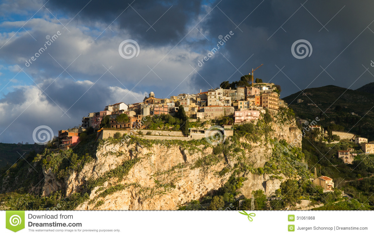 One Day In Castelmola Stock Photo.