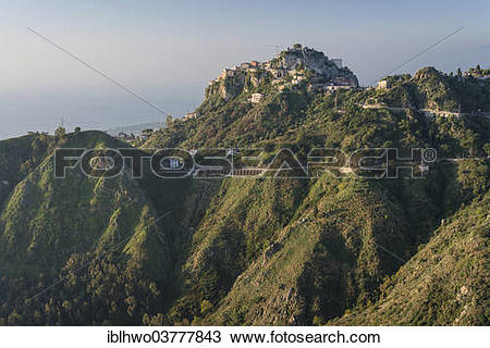"Stock Photo of ""Castelmola town on the Monte Tauro, Sicily, Italy."