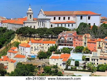 Picture of Miradouro de Graca church, from Castle of Sao Jorge.
