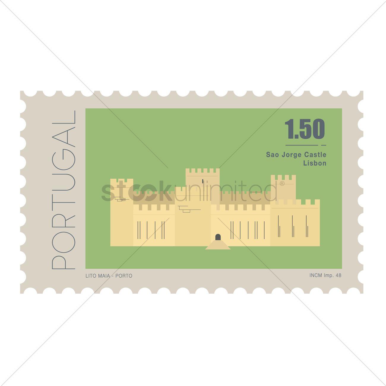 Sao jorge castle postage stamp Vector Image.
