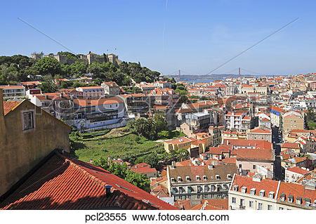Stock Image of Portugal, Lisbon, View From Esplanda Da Igreja Da.