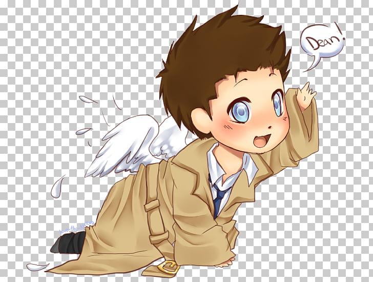 Castiel Dean Winchester Sam Winchester Chibi Fan art, Chibi.