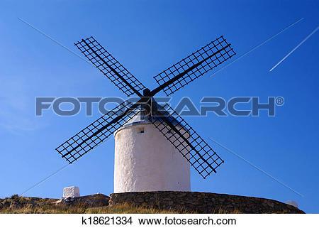 Stock Photo of Cervantes Don Quixote windmills and Consuegra.