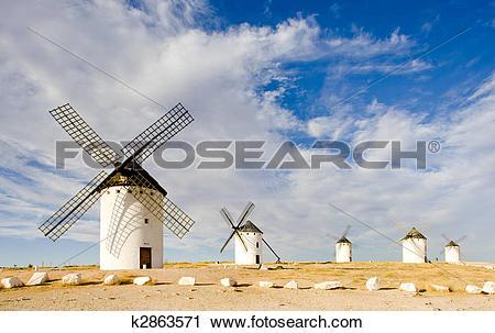 Stock Photography of windmills, Campo de Criptana, Castile.