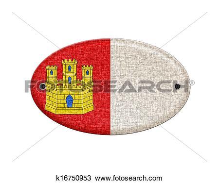 Drawing of Wooden Castilla La Mancha flag. k16750953.