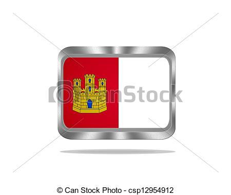 Clipart of Metal Castilla La Mancha flag..