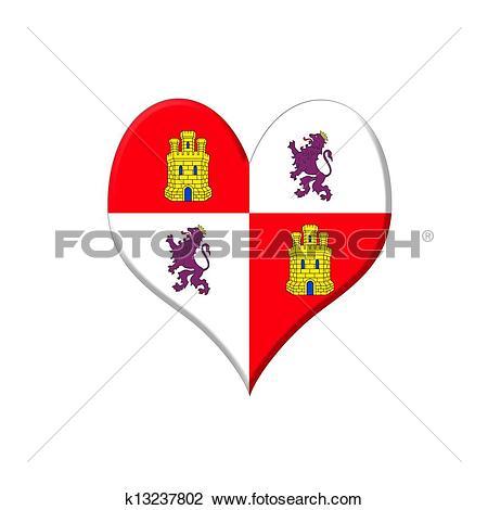 Clip Art of Castilla y Leon heart. k13237802.