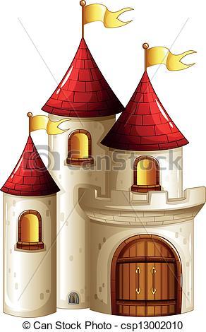 Vector Clip Art de castillo, banderas, amarillo.