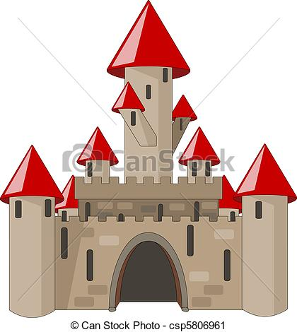 Vector Clip Art of Fantasy castle on green landscape.