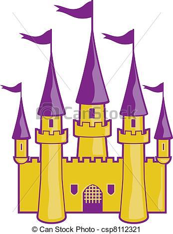 Vector Clip Art de dorado, castillo.