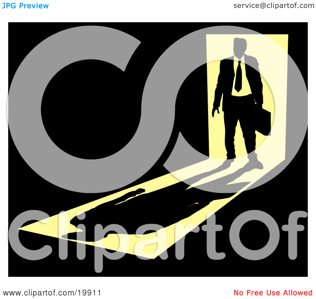 Clipart Illustration of a Silhouetted Businessman Carrying A.