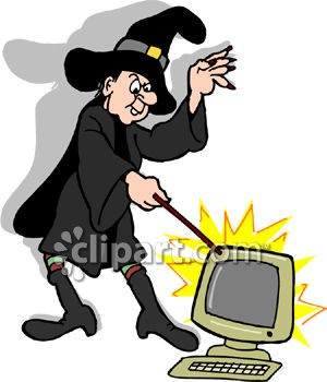 Royalty Free Clipart Image: A Witch Casting A Spell On A Computer.