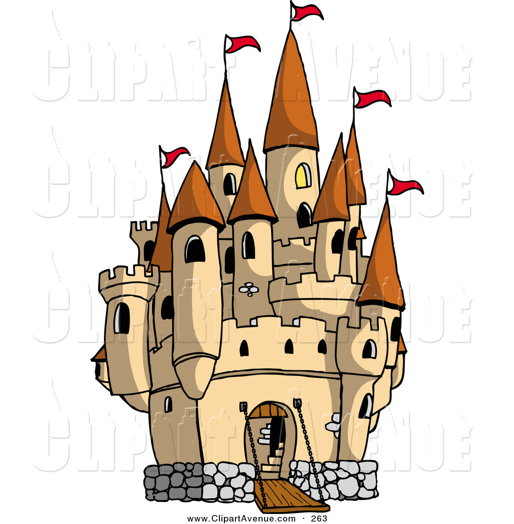 Avenue Clipart of a Large Pretty Castle with the Gate down for.