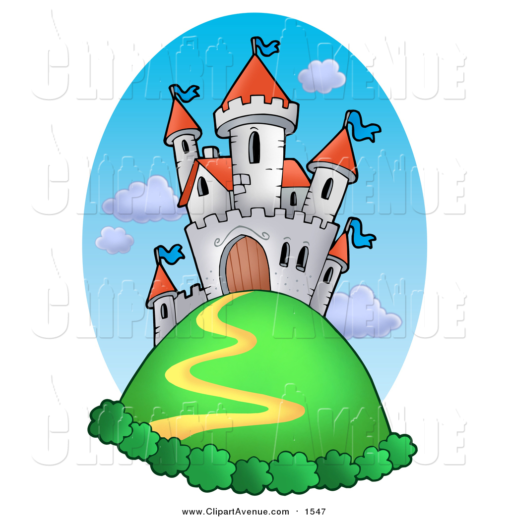 Avenue Clipart of a White Castle on a Hill Top Against Sky by.