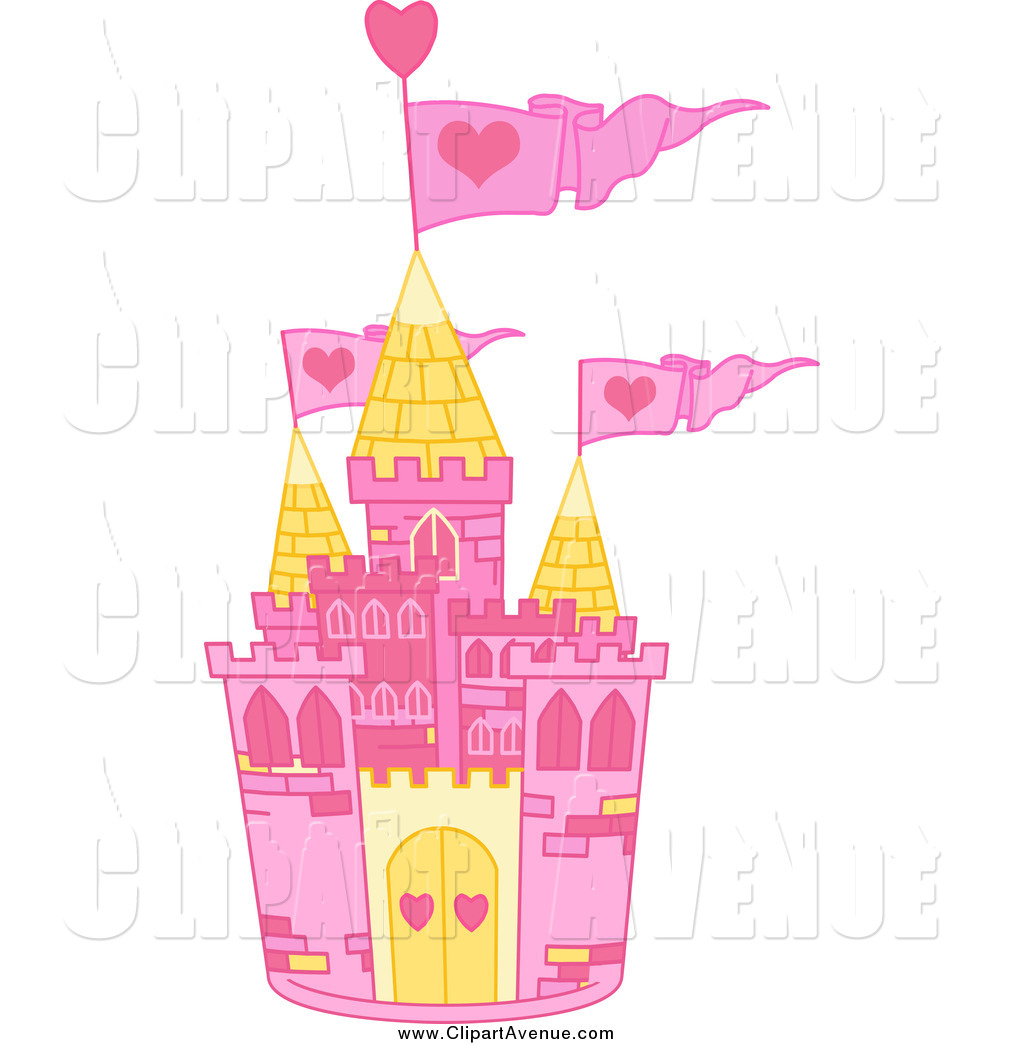 Avenue Clipart of a Pink and Yellow Castle with Pink Heart Flags.