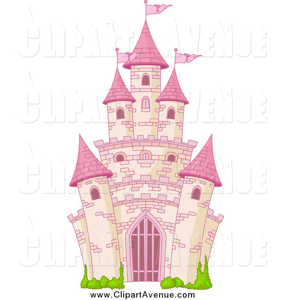 Avenue Clipart of a Pink Fairy Tale Castle by Pushkin.