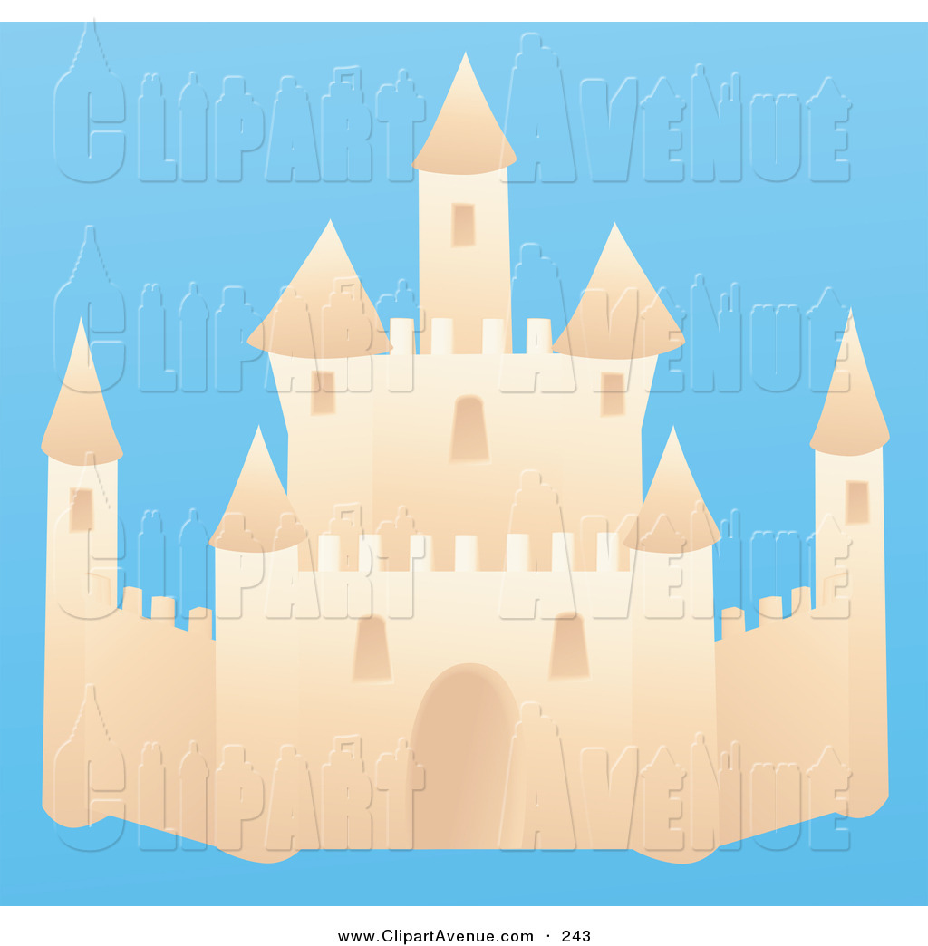 Avenue Clipart of an Elegant Sand Castle on a Beach on a Solid.