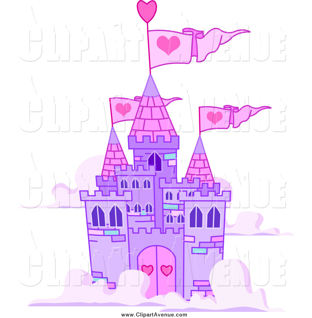 Avenue Clipart of a Purple Castle Floating in the Clouds by.