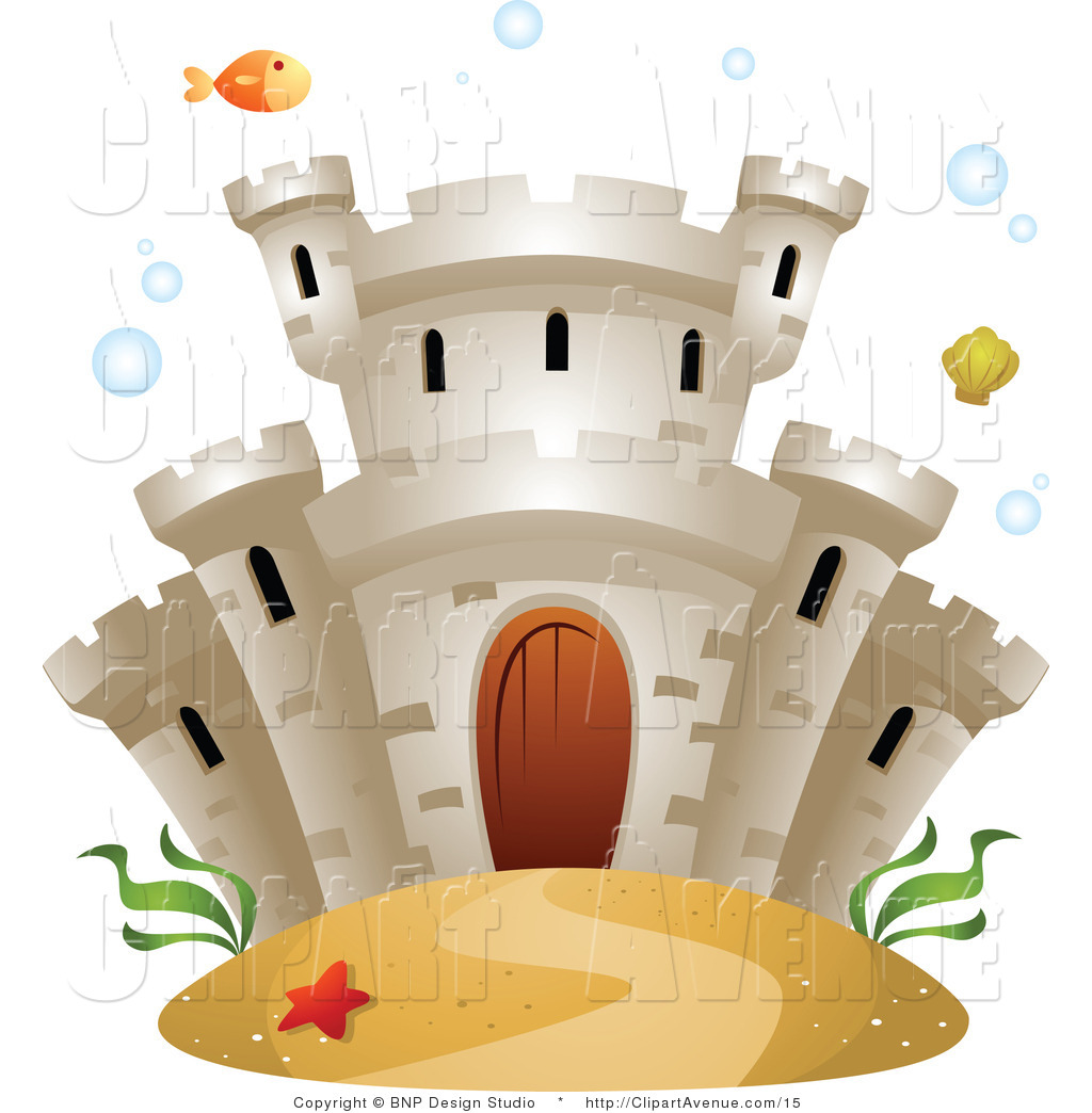 Avenue Clipart of a Castle Underwater with Fish and Sea Weed by.