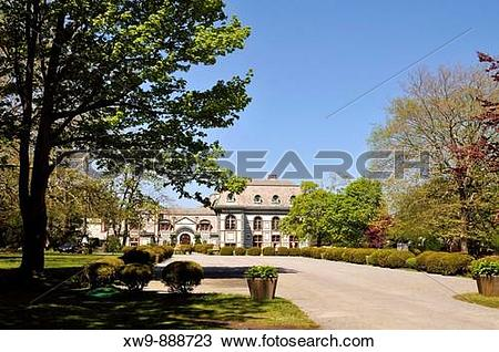 Stock Photo of Front of Belcourt Castle Mansion on Bellevue Avenue.