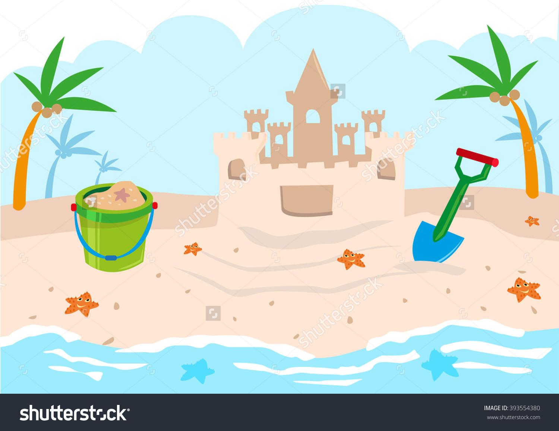 Kids Castle Building Tools On A Beach. Editable Clip Art. Stock.